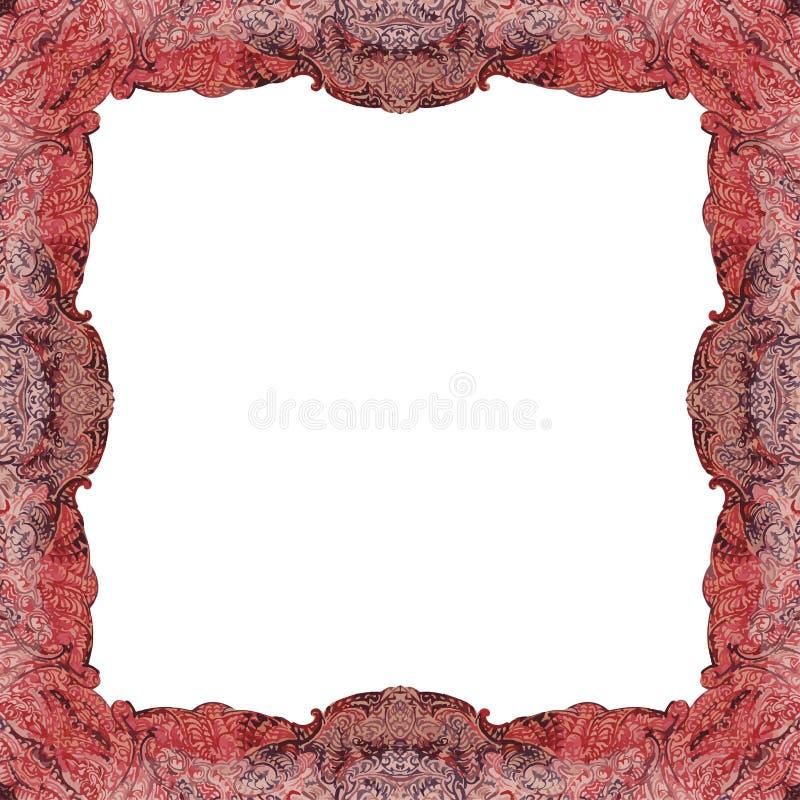 Орнаментально покрашенный симметричный, квадратный форменный дизайн рамки бесплатная иллюстрация
