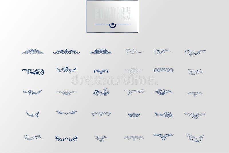 Орнаментальные границы и углы эффектной демонстрации, королевские свирли орнамента и рассекатели страницы вектора винтажные Класс иллюстрация штока