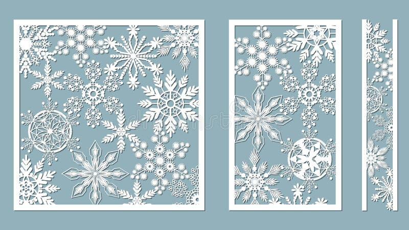 Орнаментальные панели с картиной снежинки Лазер отрезал декоративные картины границ шнурка Комплект шаблонов закладок Отображайте иллюстрация вектора