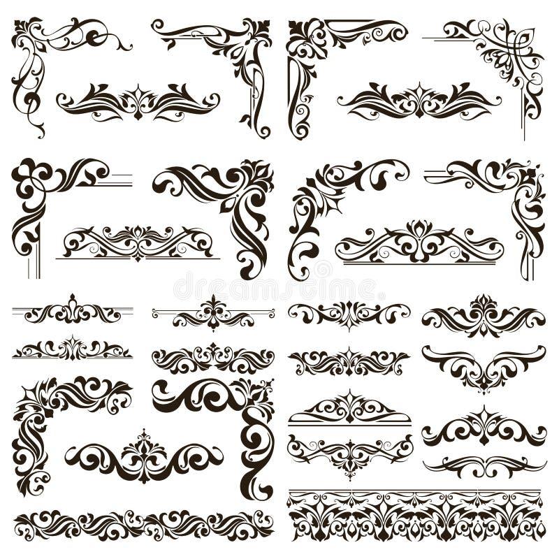 Орнаментальный вектор границ и углов шнурка дизайна установил элементы флористических орнаментов стиля Арт Деко иллюстрация вектора