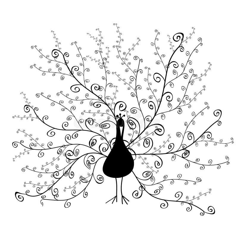 орнаментальный кабель спирали силуэта павлина бесплатная иллюстрация