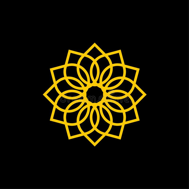 Орнаментальный шаблон логотипа вектора значка цветка бесплатная иллюстрация