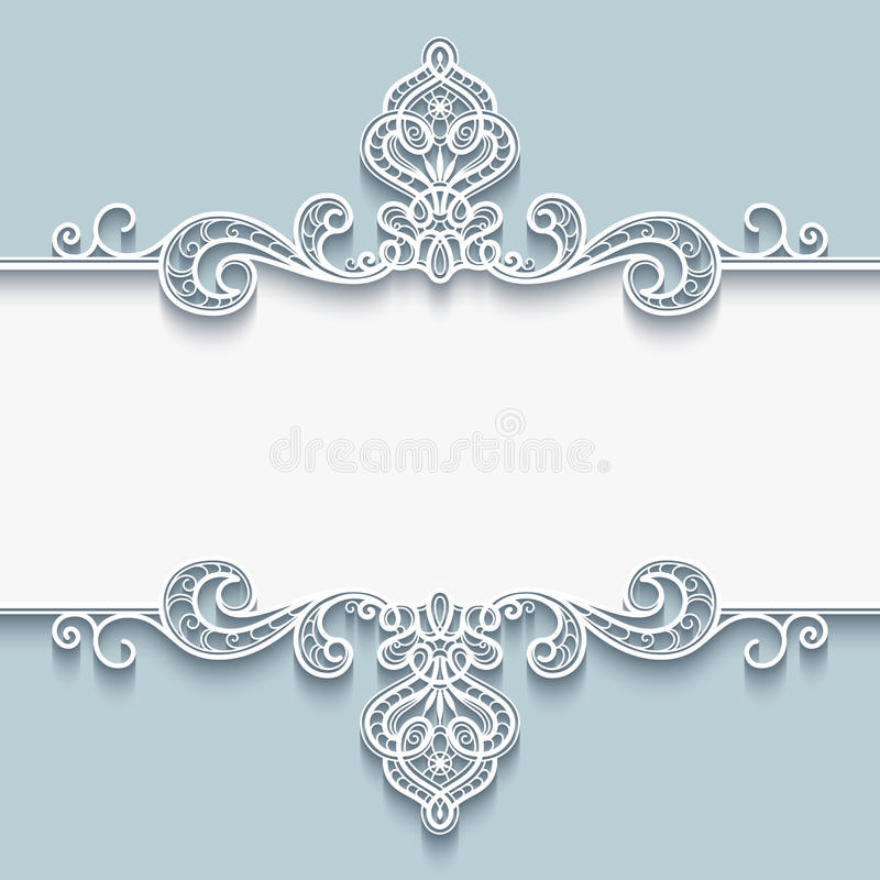 Орнаментальная бумажная рамка с границей шнурка иллюстрация штока