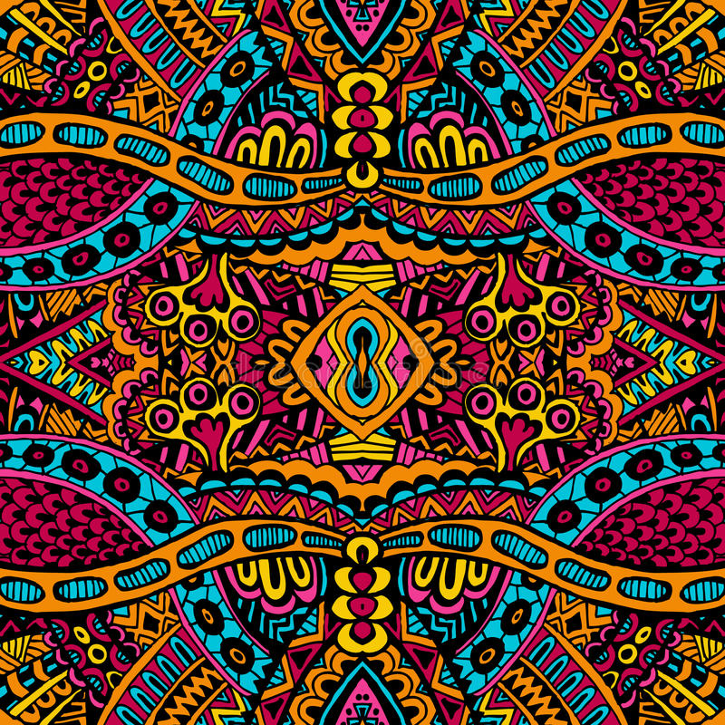 Орнаментальная винтажная этническая безшовная картина вектора иллюстрация штока