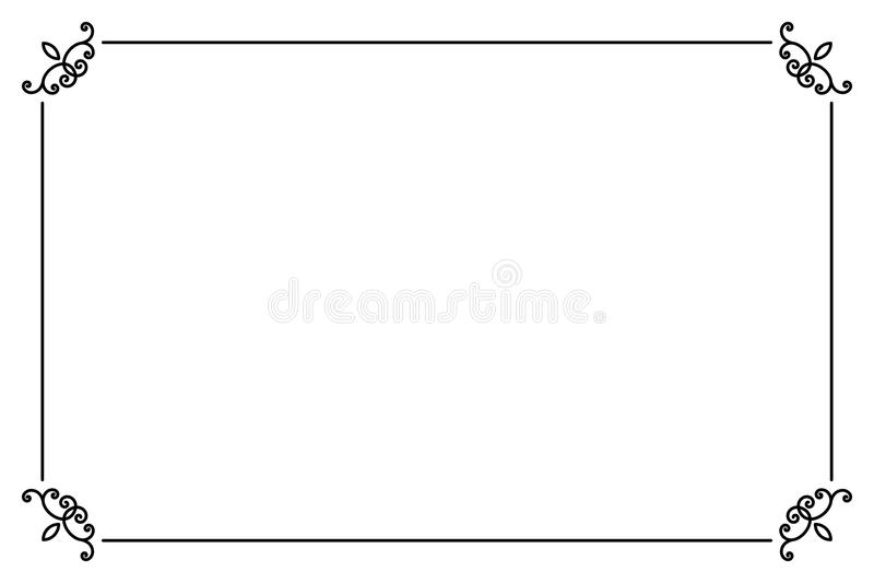 Орнаментальная декоративная рамка страницы Линия шаблон вектора границы стиля иллюстрация штока