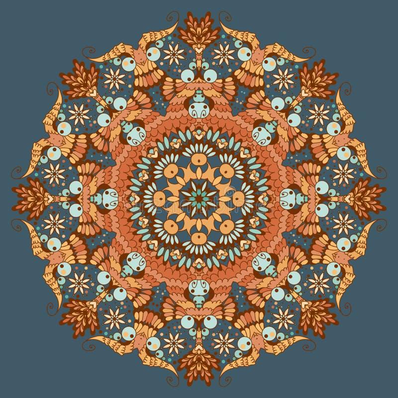 Орнаментальная круглая абстрактная картина иллюстрация штока