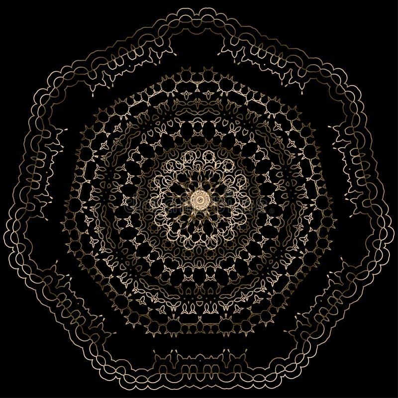 Орнаментальная круглая флористическая картина золота иллюстрация штока