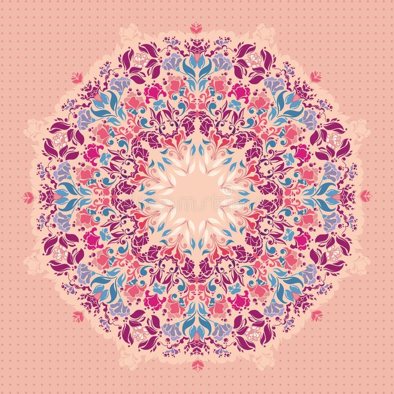 Орнаментальная круглая флористическая картина шнурка. иллюстрация вектора