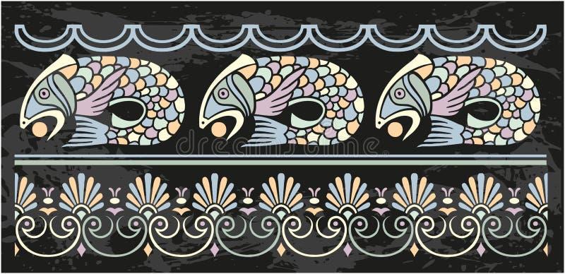 Орнаментальная рамка с рыбами иллюстрация штока