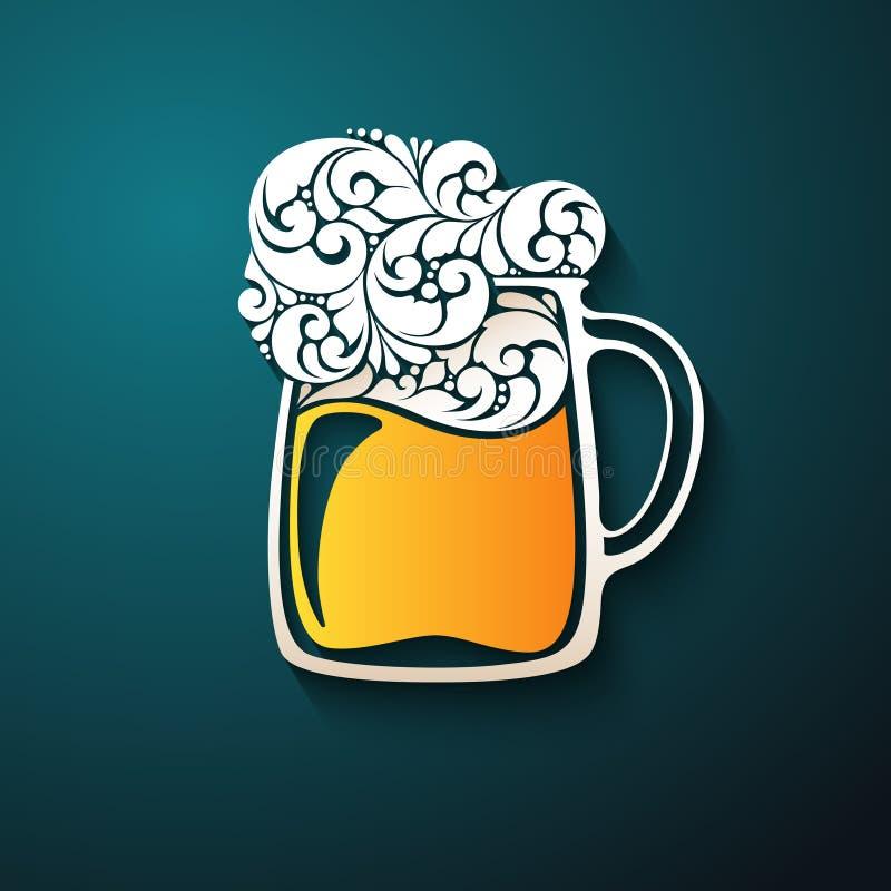 Орнаментальная стеклянная кружка пива иллюстрация вектора