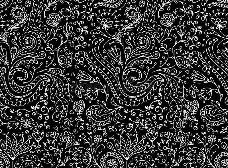 Орнаментальная флористическая безшовная картина для вашего дизайна иллюстрация вектора