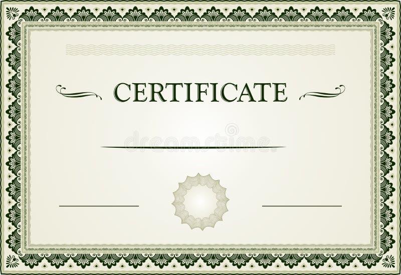 Орнаментальные граница и шаблон сертификата иллюстрация штока