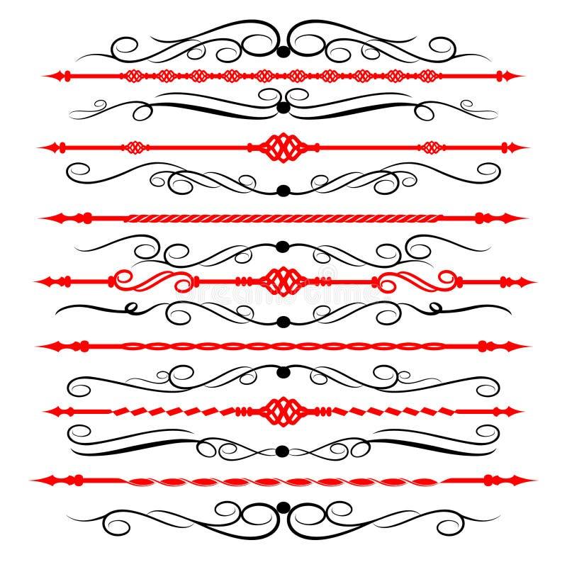 Орнаментальные линии правила в различном оформлении дизайна бесплатная иллюстрация