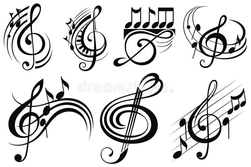 Орнаментальные примечания музыки иллюстрация штока