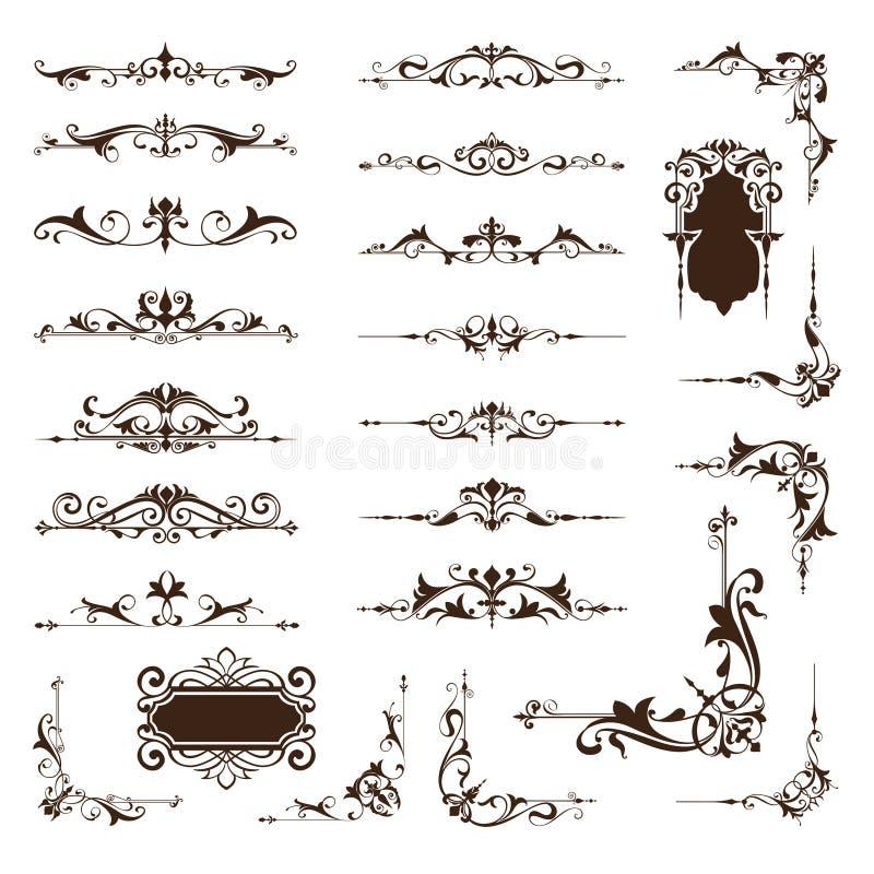 Орнаментальный комплект вектора границ и углов дизайна винтажных орнаментов иллюстрация вектора