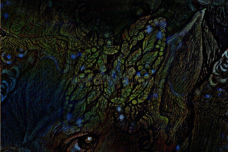 Орнаментальный коллаж лист, головная иллюстрация ювелирных изделий иллюстрация штока