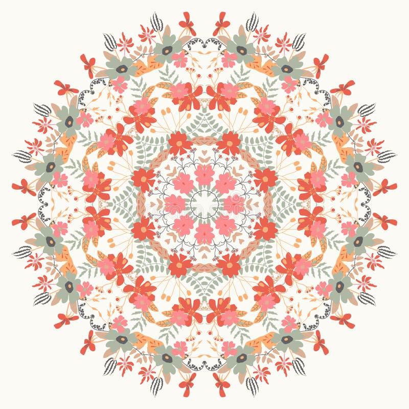 Орнаментальный круглый цветочный узор иллюстрация штока