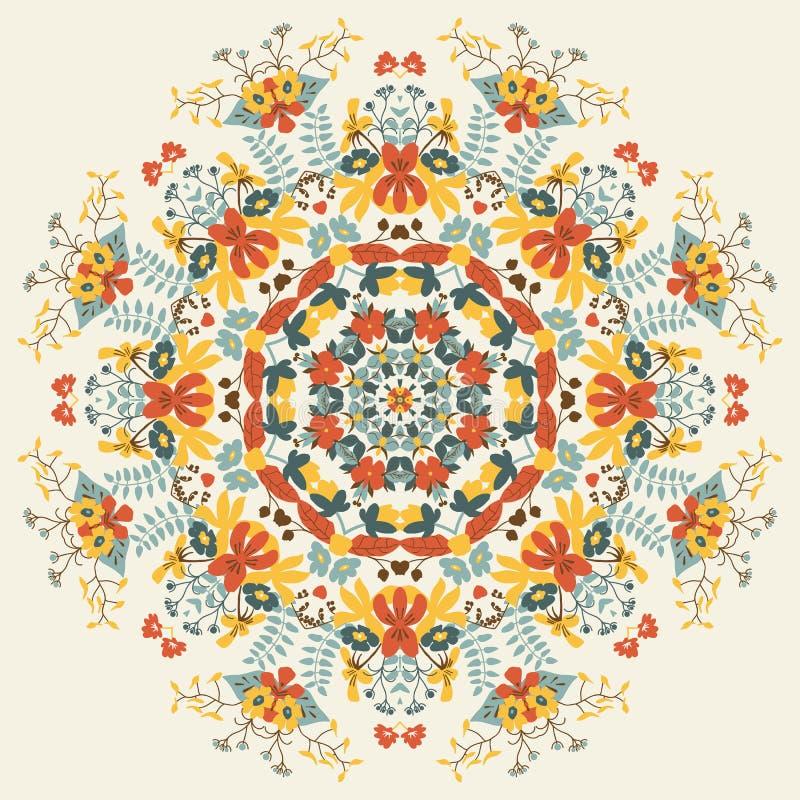 Орнаментальный круглый цветочный узор бесплатная иллюстрация