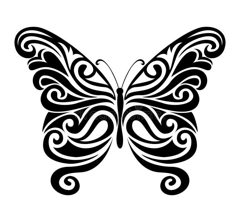 Орнаментальный силуэт бабочки иллюстрация штока
