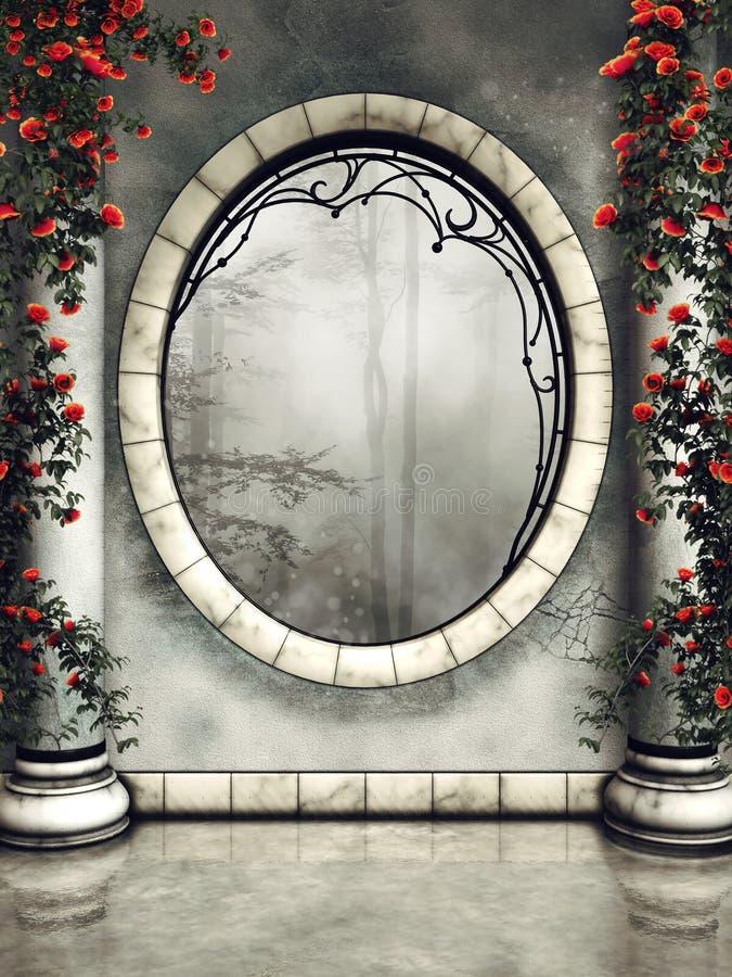 Орнаментированные окно и столбцы бесплатная иллюстрация
