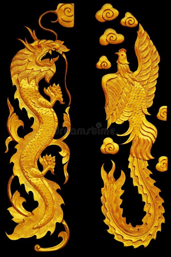 Орнаментируйте элементы, винтажное золотое Dragonl и дизайны лебедя стоковая фотография