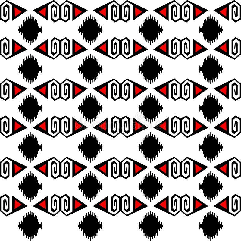 Орнаменты безшовного этнического вектора картины традиционные племенные геометрические чернят богемца красного и белого дизайна п иллюстрация вектора