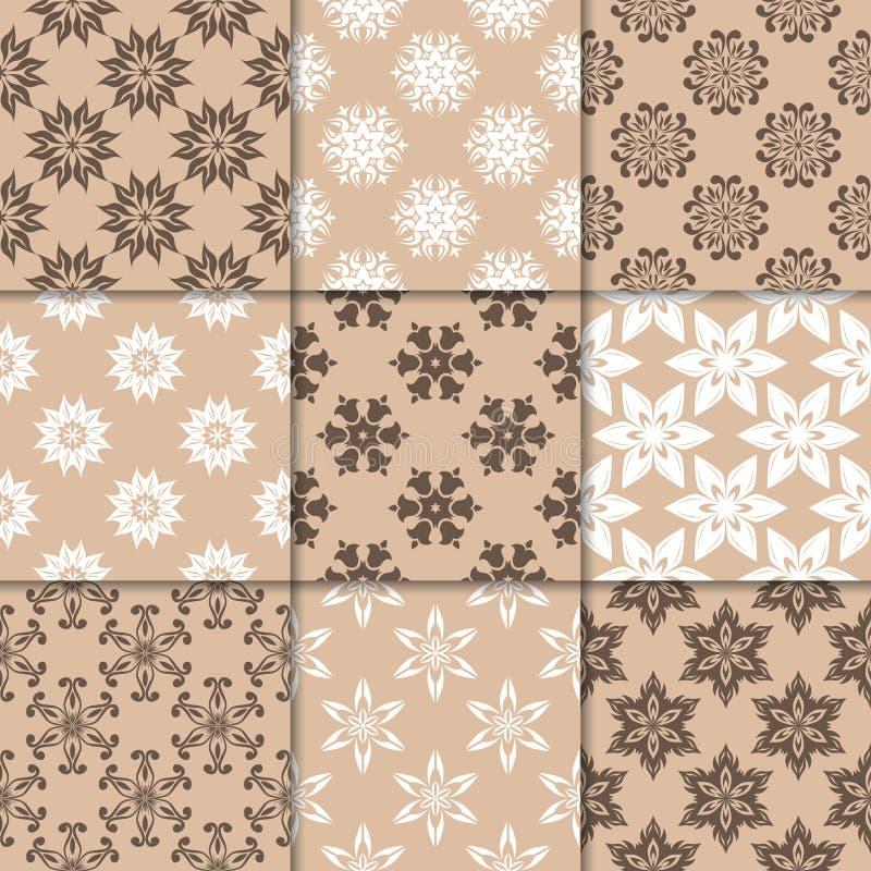Орнаменты Брайна бежевые флористические собрание делает по образцу безшовное иллюстрация вектора