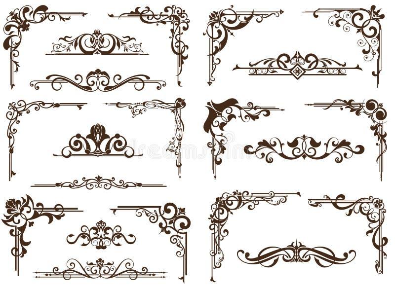 Орнаменты вектора винтажные, углы, границы иллюстрация вектора