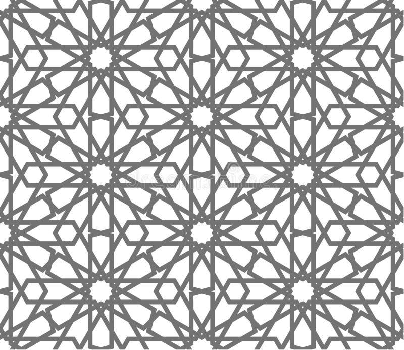 Орнаменты исламского вектора геометрические, традиционное арабское искусство Востоковедная безшовная картина Turkish, аравиец, мо иллюстрация штока