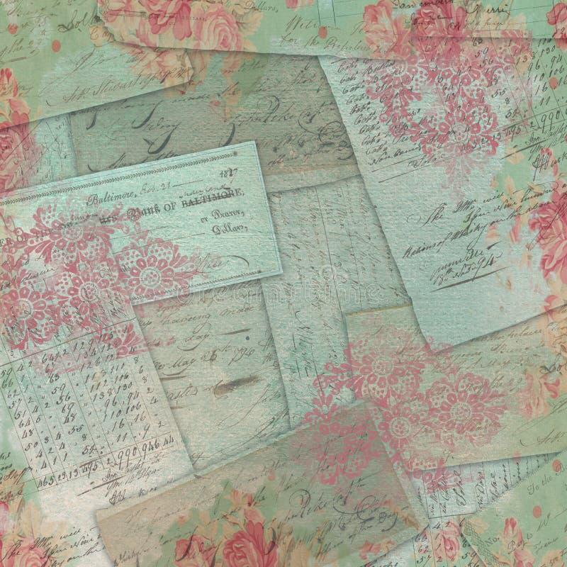 Орнаменты и розы винтажных Американа Ephemera флористические стоковая фотография rf