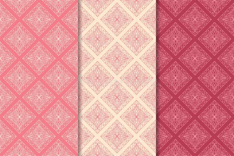 Орнаменты красного цвета вишни геометрические делает по образцу безшовный комплект иллюстрация штока
