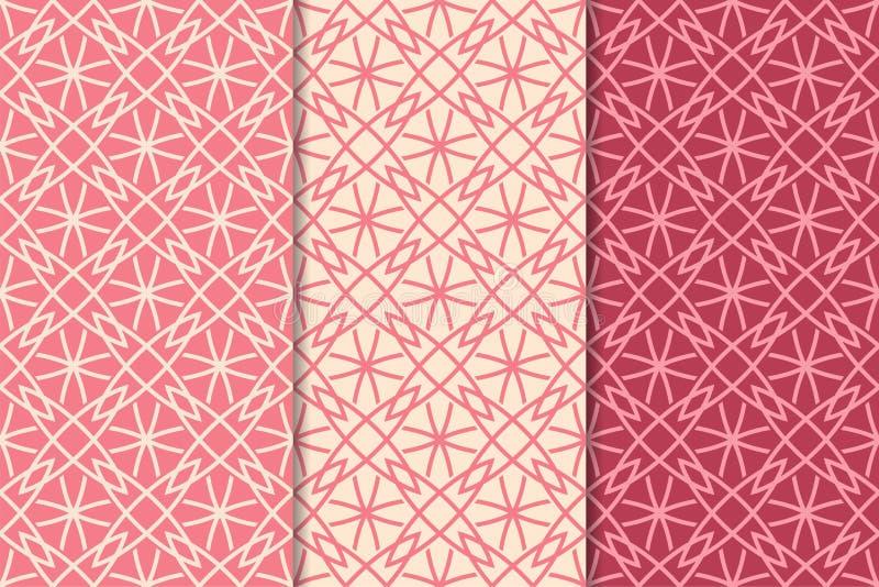 Орнаменты красного цвета вишни геометрические делает по образцу безшовный комплект иллюстрация вектора