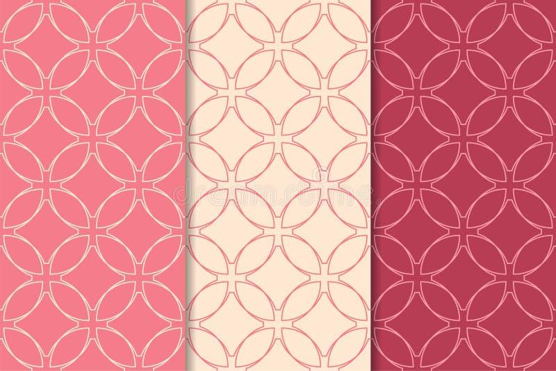 Орнаменты красного цвета вишни геометрические делает по образцу безшовный комплект бесплатная иллюстрация