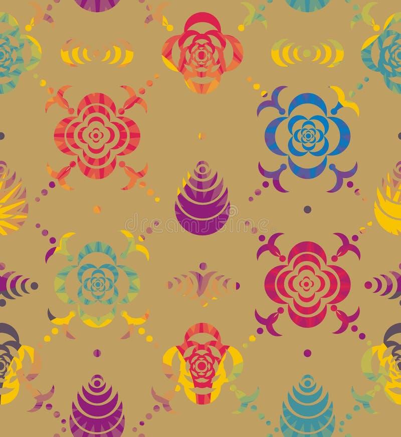 Орнаменты от восковки цветков и листьев иллюстрация вектора