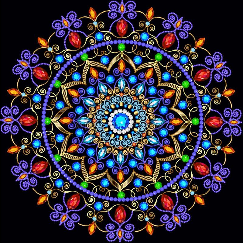 Орнаменты предпосылки круговые драгоценных камней бесплатная иллюстрация