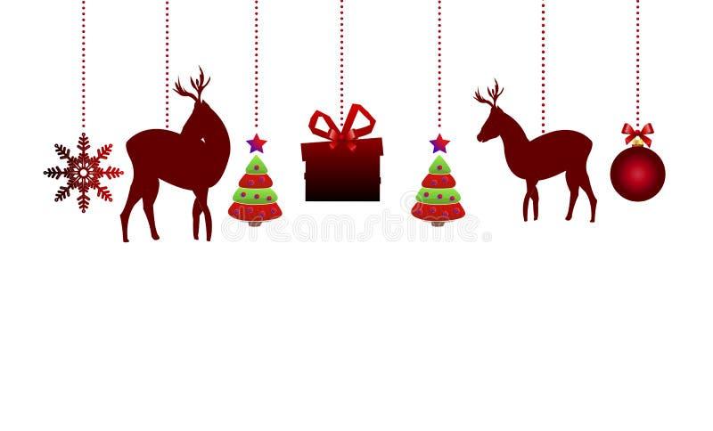 орнаменты рождества вися иллюстрация вектора