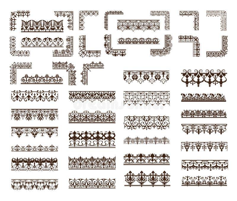 Орнаменты шнурка вектора установленные винтажные, углы, границы иллюстрация вектора
