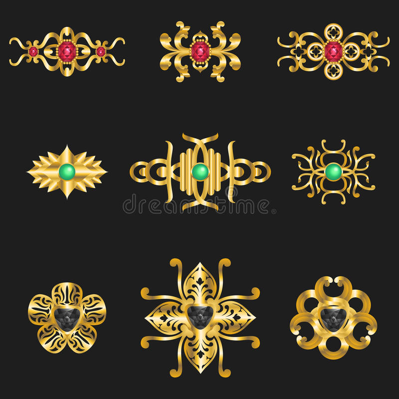 Орнаменты ювелирных изделий иллюстрация штока