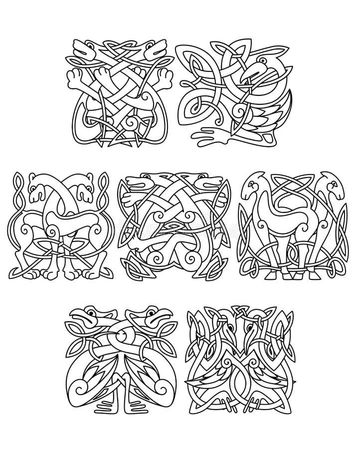 Орнаменты celtic птиц аиста, крана и цапли иллюстрация штока