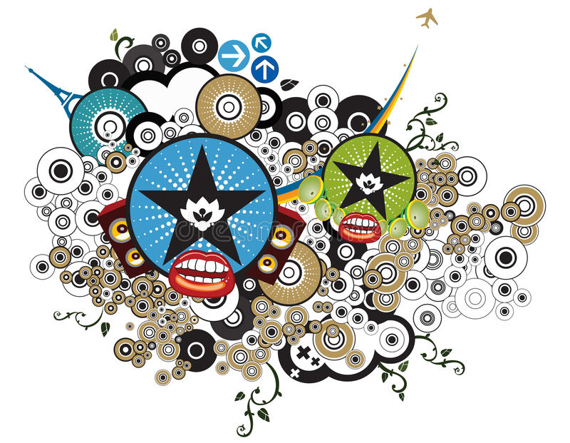орнаменты grunge иллюстрация вектора