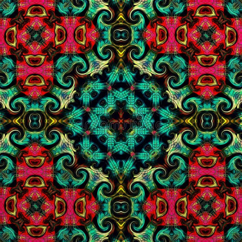 Орнамент абстрактного искусства классический роскошный декоративный этнический веревочка иллюстрации безшовная Флористический сти стоковое изображение