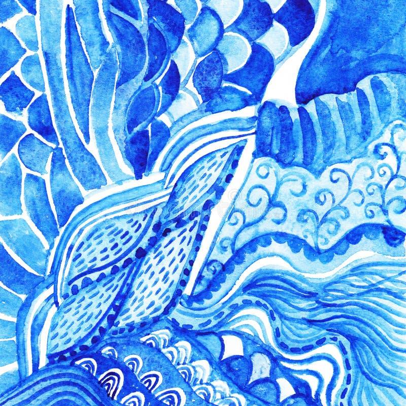 Орнамент акварели голубой абстрактный. Скороговорка gzhel акварели Doily бесплатная иллюстрация