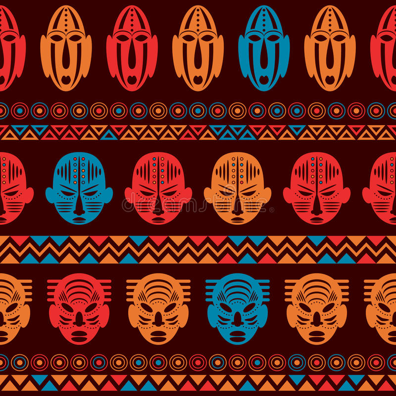 Орнамент африканской племенной картины этнический иллюстрация вектора