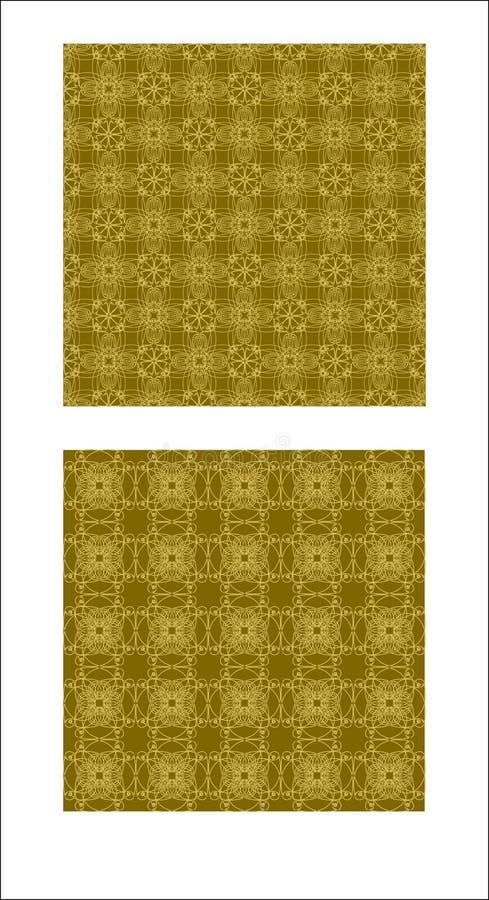 Орнамент безшовной парчи золота винтажный, филигранный дизайн ткани, роскошные картины ткани иллюстрация штока