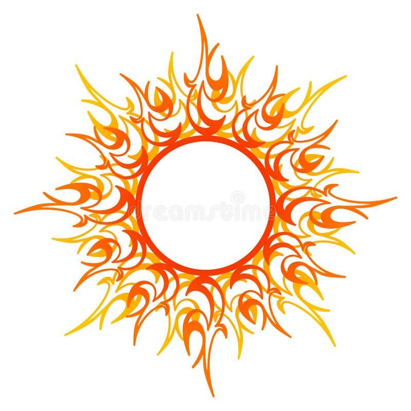 Орнамент вектора, абстрактное солнце, огонь иллюстрация вектора