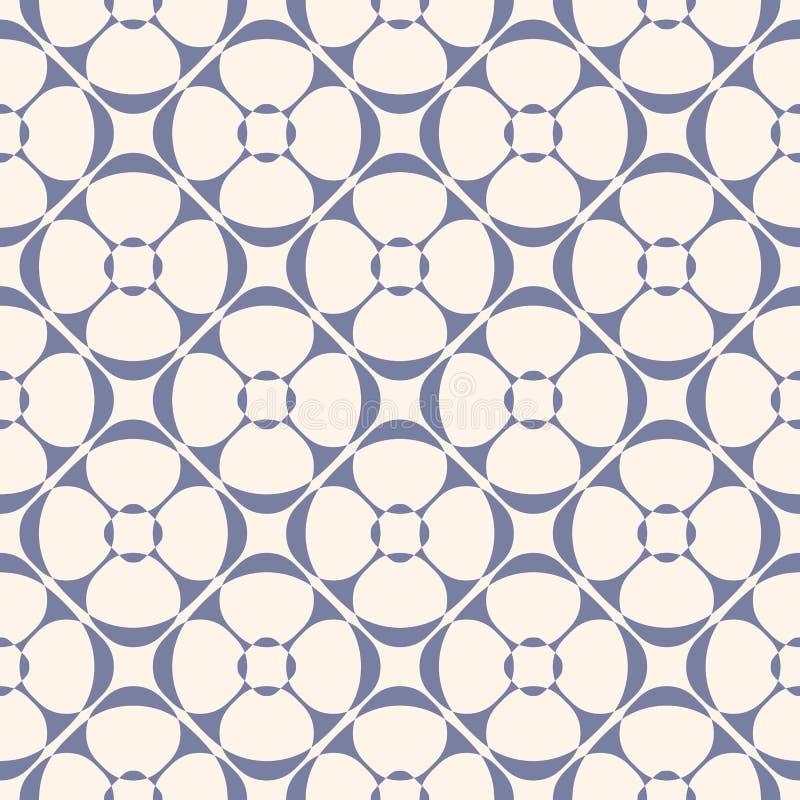 Орнамент вектора геометрический винтажный Безшовная картина, голубое спокойствие и беж иллюстрация вектора