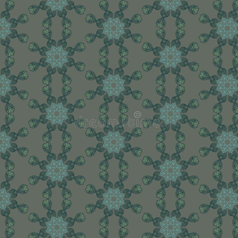 Орнамент вектора мандалы Зеленые и голубые цвета иллюстрация штока