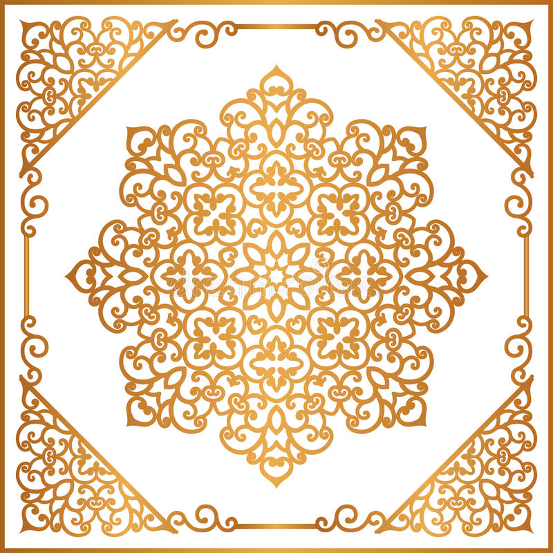 Орнамент винтажного золота круглый в квадратной рамке иллюстрация штока