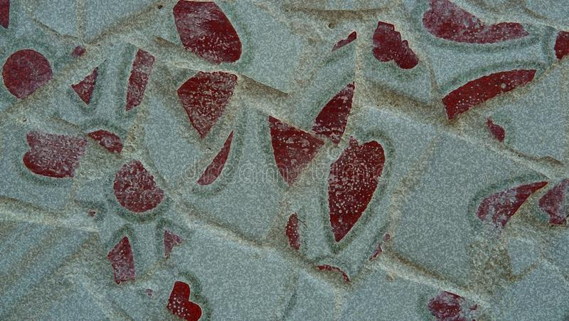 Орнамент винтажной стены мозаики декоративный от керамической сломанной плитки в цементе абстрактная геометрическая картина стоковое изображение