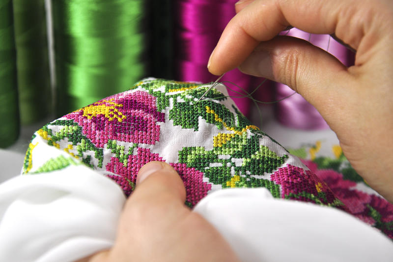 Орнамент вышивки руки стоковое изображение rf
